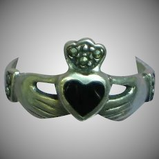 Sterling Silver Irish Claddagh Onyx Heart Loyalty Friendship Love Ring