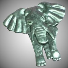 Pewter 3-D Elephant Highly Detailed Pin Brooch