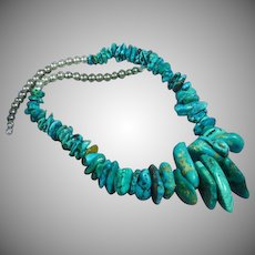 Native American Indian Natural Turquoise Nugget Sterling Silver Necklace