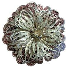 Vintage Pure Silver Floral Flower Sterling Silver Filigree Brooch Pin