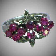 Raspberry Purple Tourmaline Diamond Floral Spray Sterling Silver Ring