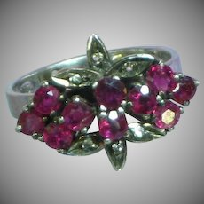 Raspberry Purple Tourmaline Diamond Floral Spray Sterling Silver Ring