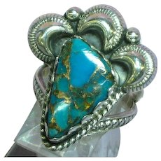 Native American Indian Arizona  Turquoise with Copper Gold Matrix Sterling Silver Ring