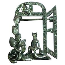 Sterling Silver Marcasite Cat Mouse Roses Window 3D Pin Brooch