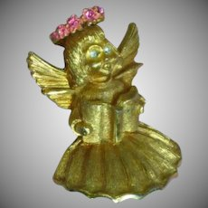 Pakula Signed Christmas Angel Brooch Pin