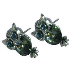 Vintage Rivoli Rhinestone Eyes Owl Textured Silver tone Pierced Earrings