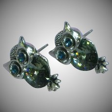 Vintage Rivoli Rhinestone Eyes Owl Textured Silver tone Pierced Earrings