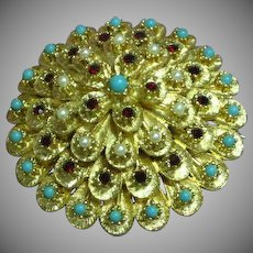 Rhinestones Large Dome Faux Pearls Turquoise Rubies  Jewels Pin Brooch