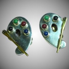 Mexico Hallmarked Sterling 925, TC-57 Carsi Artist Painter Pallet Gemstone Clip Earrings