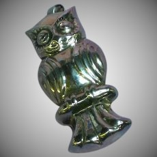 Sterling Silver Puffy Owl Hollow Figural Necklace Pendant Pin Brooch
