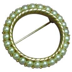 Crown Trifari Faux Pearl Circle Pin Brooch