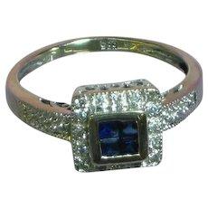 14K White Gold Diamond Sapphire Engagement Promise Anniversary Ring