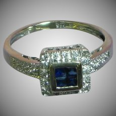 14K White Gold Diamond Sapphire Engagement Promise Anniversary Ring