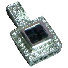 14K White Gold Diamond Sapphire Necklace Pendant