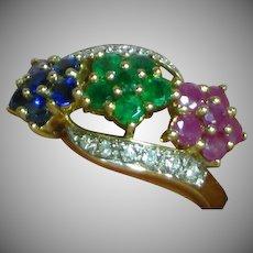 9K Yellow Gold  Ruby  Emerald Sapphire  Diamond Ring