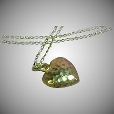 14K Yellow Gold Petite Precious Hammered Puffy Heart Necklace