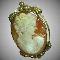 Loran Sim Gold Filled Carved Shell Cameo Pin Pendant