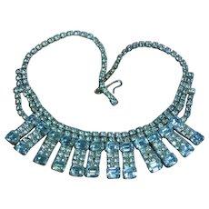 Rhinestones Beautiful Baby Blue Emerald Cut Rhodium Plate Necklace