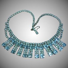 Rhinestones Beautiful Baby Blue Emerald Cut Rhodium Plate Necklace
