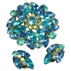 Gorgeous Shades of Blue Marquise Round Rhinestone Pin Brooch Clip Earrings Demi Parure