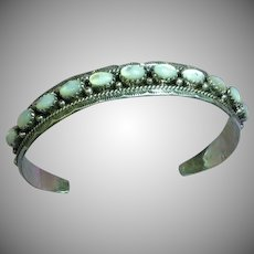 Native American Indian Mother of Pearl  Sterling Silver  Signed Stacking Cuff Bracelet
