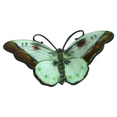 Sterling Enamel Norway  Hand-Painted Butterfly Necklace Pendant