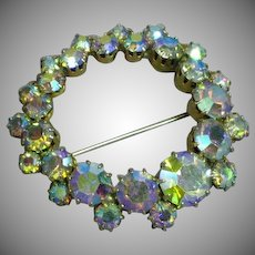 Rhinestone Beautiful A/B Circle Pin Brooch