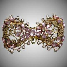 Rhinestones Pink Bow Tie Pin Pendant Brooch