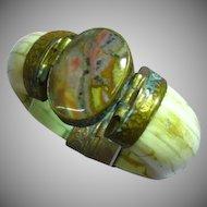 Chunky BONE & Brass Wide India 1970's Bohemian Look Large Vintage Bangle Bracelet