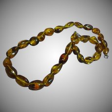 Natural Amber Polished Beads with INSECT Spider Necklace
