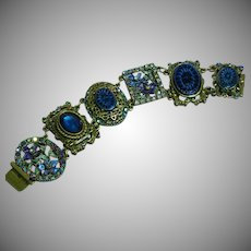 Sweet Romance Retired Rhinestone Art Glass Large Panel Bracelet