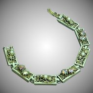 Vintage White Painted Antiqued Gold Rhinestone Glass Panel Bracelet