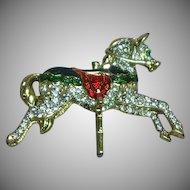 Rhinestone Enamel Carousel Horse Pin Brooch