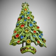 Art Signed Christmas Tree With Enamel Snow Rhinestones Ornaments Pin Brooch