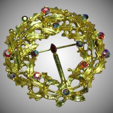 Rhinestones Red A/B Christmas Wreath Vintage Brooch Pin