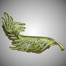 Gorgeous Rhinestone Encrusted Goldtone Leaf or Feather Figural Pin Brooch