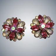 Sensational Huge Art Glass Aurora Borealis Crystal Rhinestone Clip Earrings