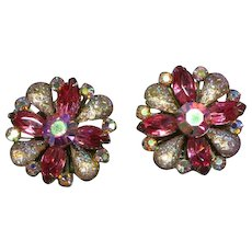 Sensational Huge Art Glass Aurora Borealis Crystal Rhinestone Clip Earrings