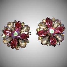Sensational Art Glass and A/B Crystal Rhinestone Large Clip Earrings