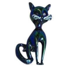Vintage Iridescent Black Cat White Enamel Whiskers Pin Brooch