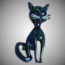 Vintage Iridescent Black Cat White Enamel Whiskers Pin Brooch