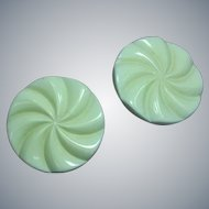 Extra Large Elegant Vintage 50's Round Spiral Off White Clip Earrings