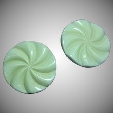 Large Elegant Vintage 50's Round Spiral Off White Clip Earrings