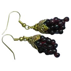 Gemstones Genuine Arizona Garnet Woven Grape Cluster Pierced Earrings