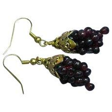Gemstones Genuine Arizona Garnet Woven Grape Cluster Pierced Earrings