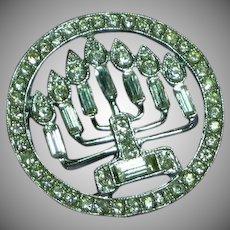 Silver Rhinestone Menorah Judaica Candelabra Circle Brooch Pin