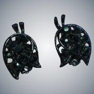 Black on Black Rhinestone Japanned Floral Clip Earrings