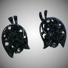 Black Rhinestone Japanned Floral Clip Earrings