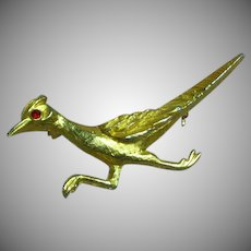 Road Runner Figural Bird Brooch Pin