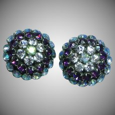 Vintage UnSigned Warner Purple Lilac Rhinestones Dome Clip Earrings